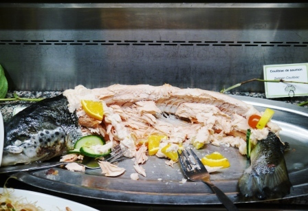 Steamed whole salmon