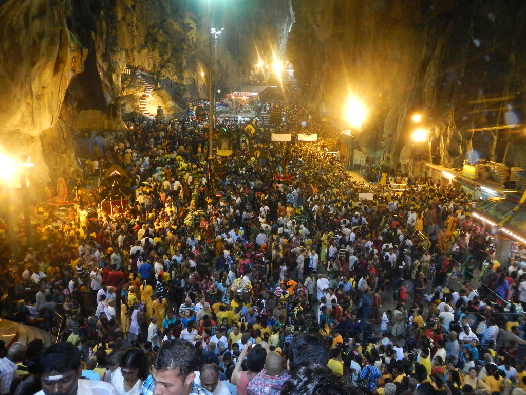 devotees gather to celebrate Thaipusam Festival at Batu Caves in Malaysia
