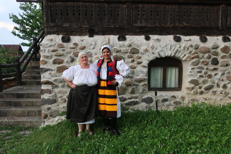 Dresses like a local at Maramures village in Romania